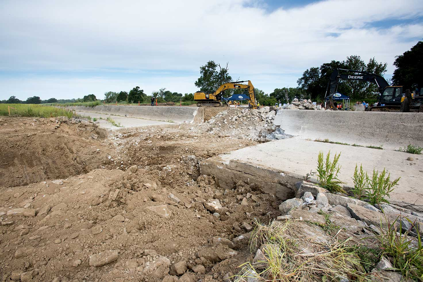 Photo 2: Demolition of the old fish ladder at the Fremont Weir began May 29, 2018. Photo courtesy of Department of Water Resources (Kelly M. Grow)