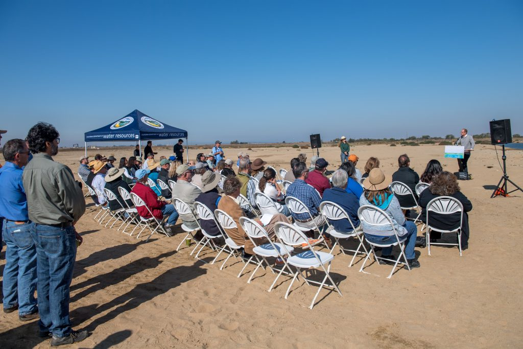 Kristopher A. Tjernell California Department of Water Resources Deputy Director of the Integrated Watershed Management Program, addresses the attendees at the Groundbreaking of The Dutch Slough Tidal Restoration Project at a stretch of land just east of Oakley, California in Contra Costa County. (Photo courtesy of the CA Department of Water Resources)
